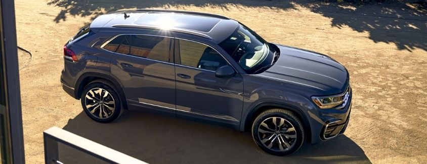 Exterior view of a gray 2020 Volkswagen Atlas Cross Sport