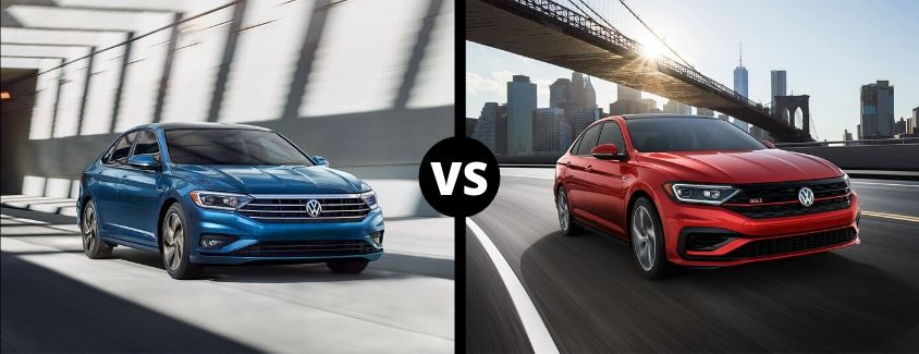 Comparison image of a blue 2019 Volkswagen Jetta and a red 2019 Volkswagen Jetta GLI