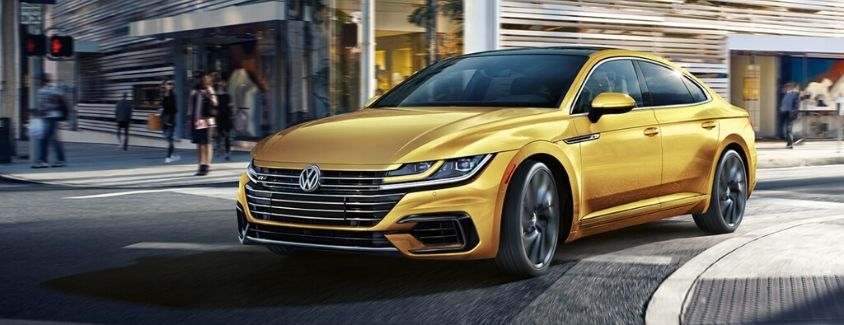 Exterior view of a gold 2019 Volkswagen Arteon