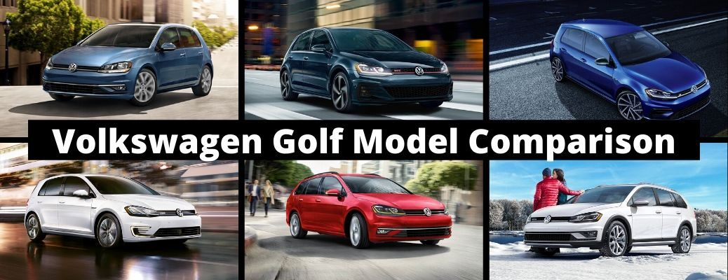Volkswagen Golf Model Comparison image with all six VW Golf models shown