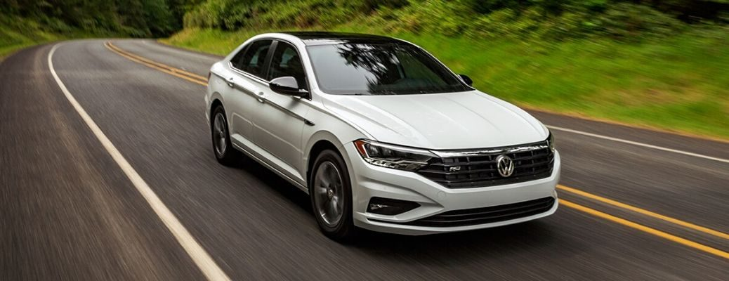 Exterior view of a Pure White 2020 Volkswagen Jetta