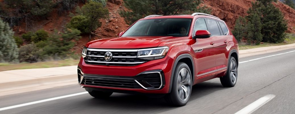Exterior view of a red 2021 Volkswagen Atlas