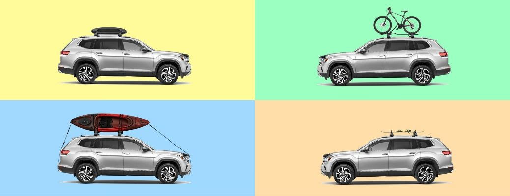 Image of four VW Atlas models equipped with various roof accessories against different colored backgrounds