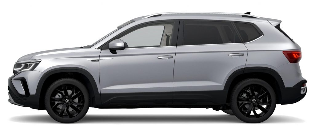 The 2022 VW Taos in pyrite silver color