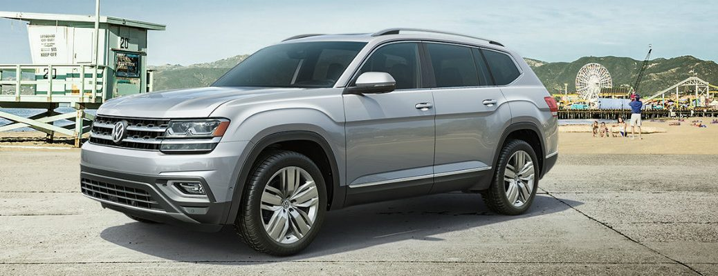 Silver 2019 Volkswagen Atlas parked at amusement park