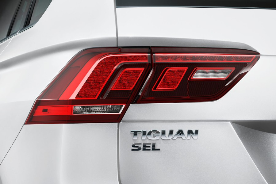 Close up of the driver side LED taillight on a white 2019 Volkswagen Tiguan
