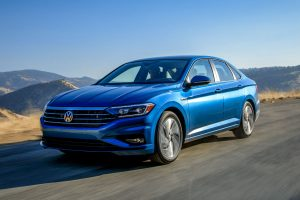 front view of a blue 2019 VW Jetta