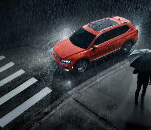 aerial view of a red 2020 VW Tiguan