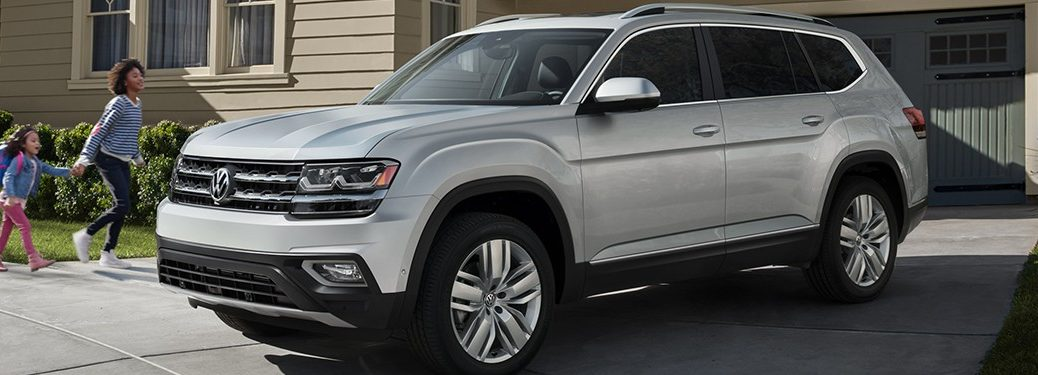 side view of a silver 2020 VW Atlas