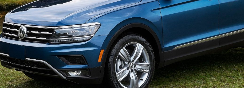 front end of a blue 2020 VW Tiguan
