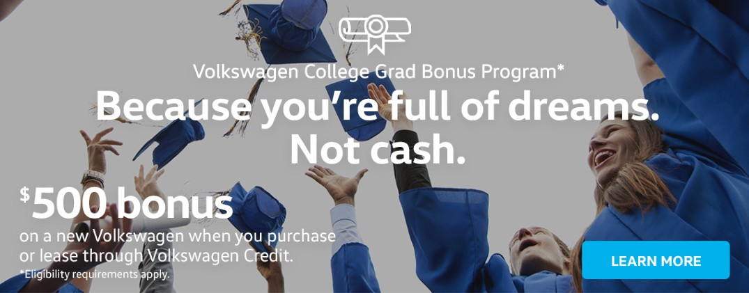 Recent College Graduates Can Save Big Buying or Leasing a New Volkswagen from Boucher VW of Franklin near Milwaukee WI