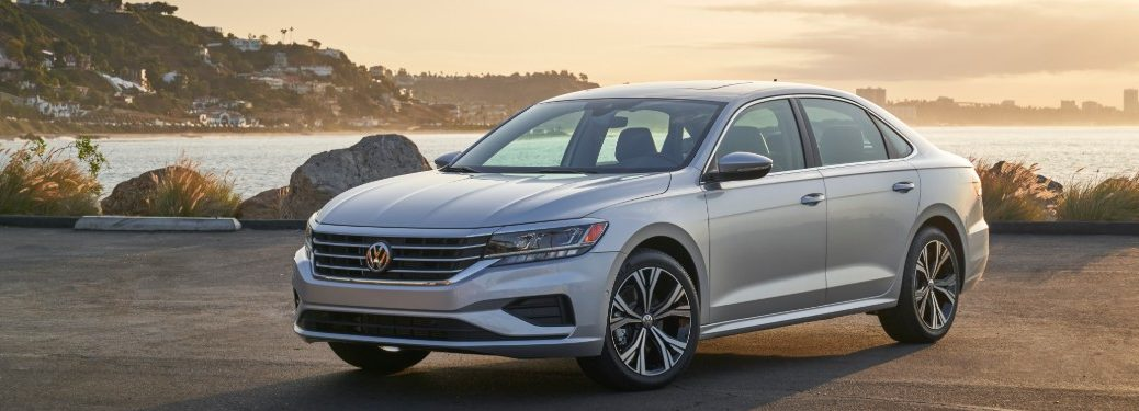 front view of a white 2020 VW Passat