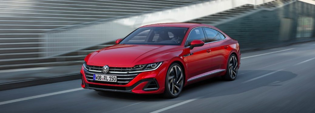 side view of a red 2021 VW Arteon