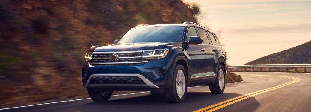 front view of a blue 2021 VW Atlas