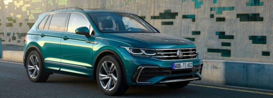 front view of a blue 2022 VW Tiguan