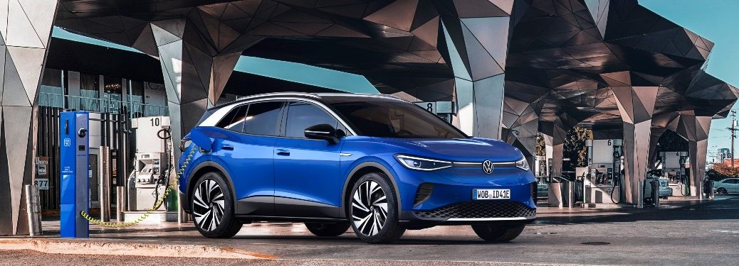 side view of a blue 2021 VW ID4