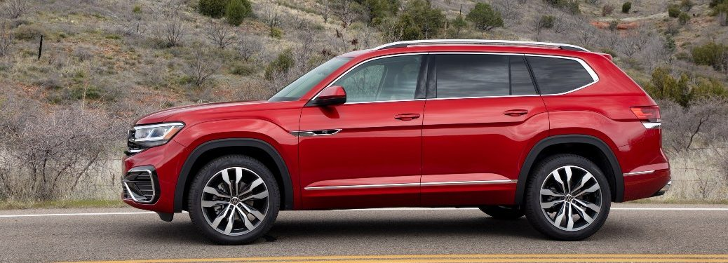 side view of a red 2021 VW Atlas