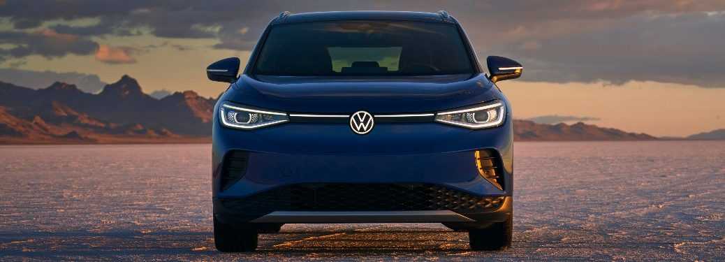 front view of a blue 2021 VW ID4