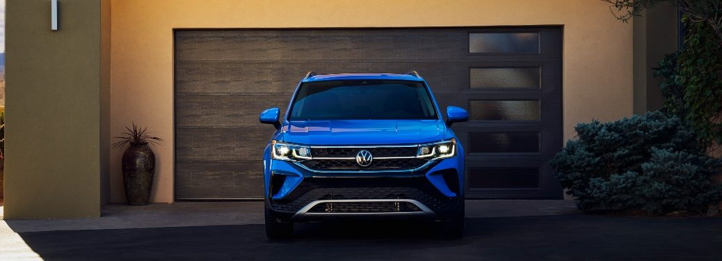 front view of a blue 2022 VW Taos