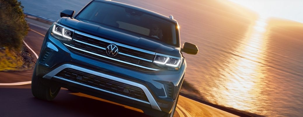 Blue 2021 Volkswagen Atlas on a road (frontview). What are the safety features?