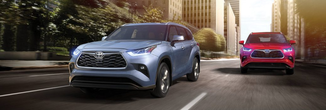 2020 Toyota Highlander driving downtown