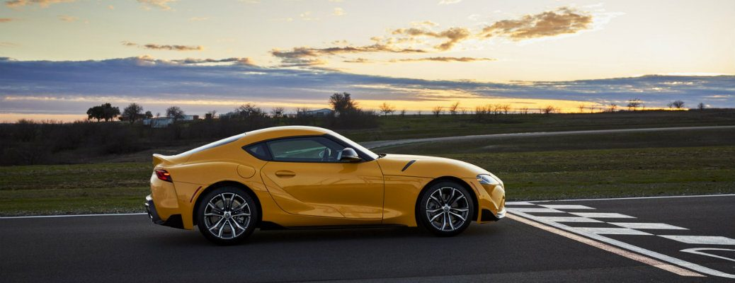 2021 Toyota GR Supra at the starting line of a racetrack
