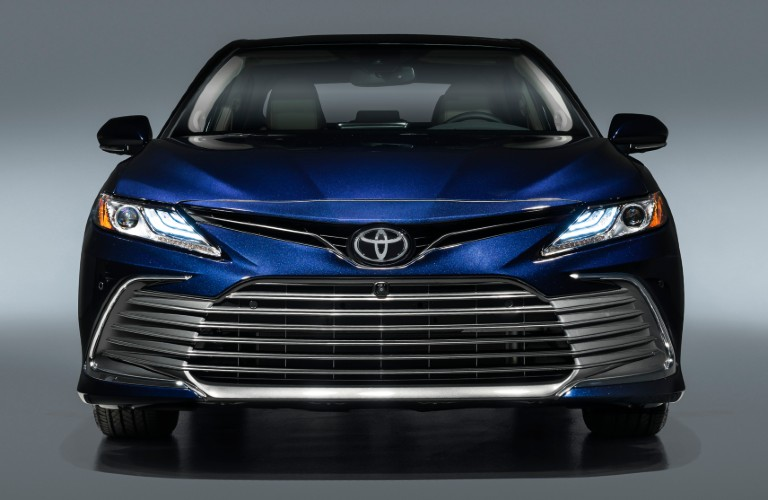 Front view of blue 2021 Toyota Camry