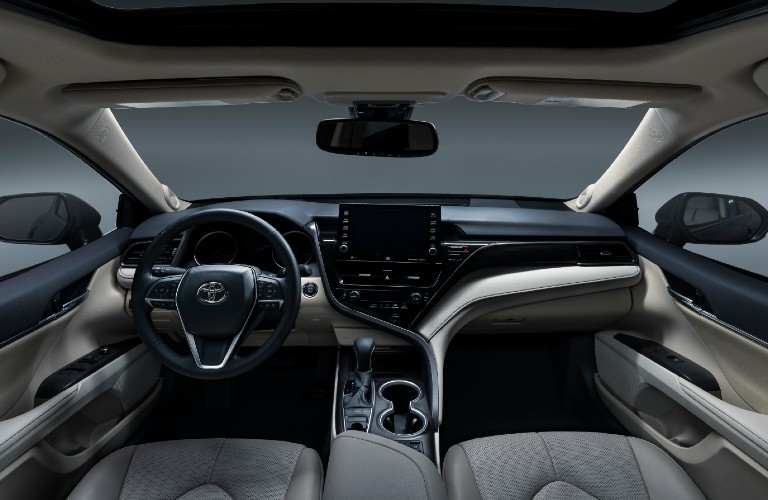 Steering wheel, gauges, and touchscreen in 2021 Toyota Camry
