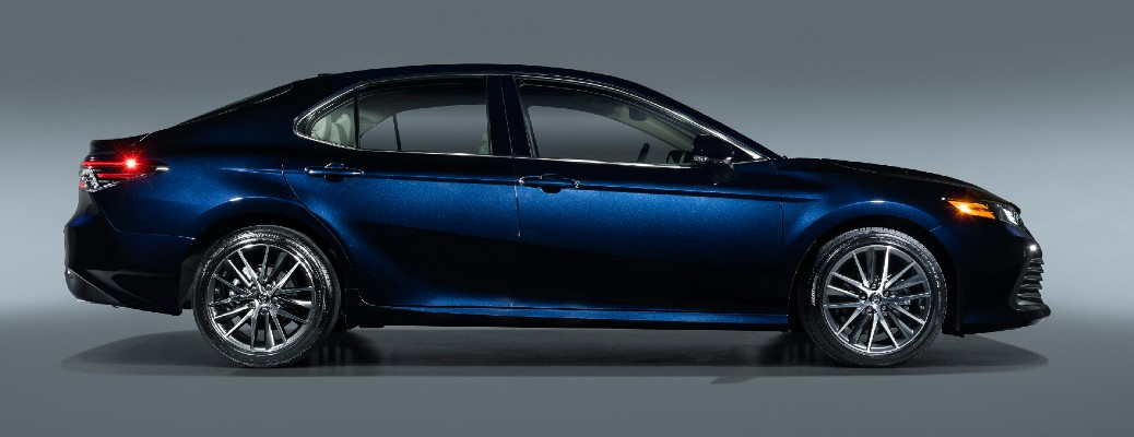 Side view of blue 2021 Toyota Camry