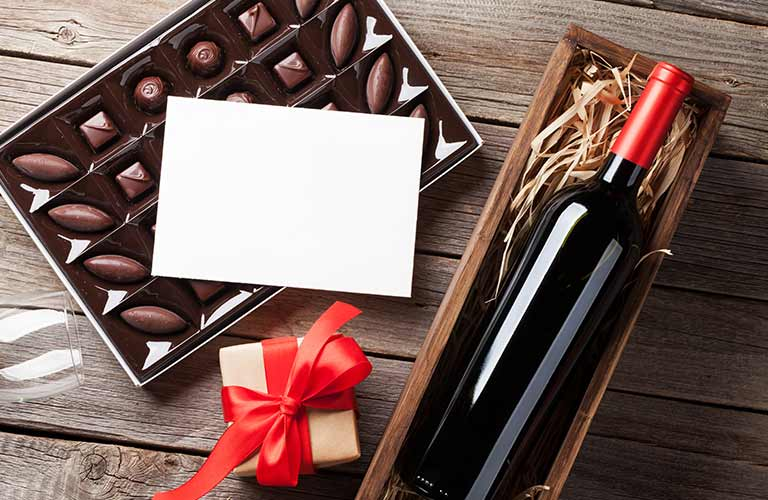 Valentine's Day box of chocolate and bottle of wine