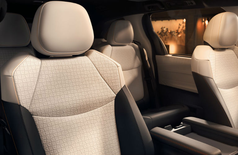 Close up look at the interior seating inside the 2021 Toyota Sienna