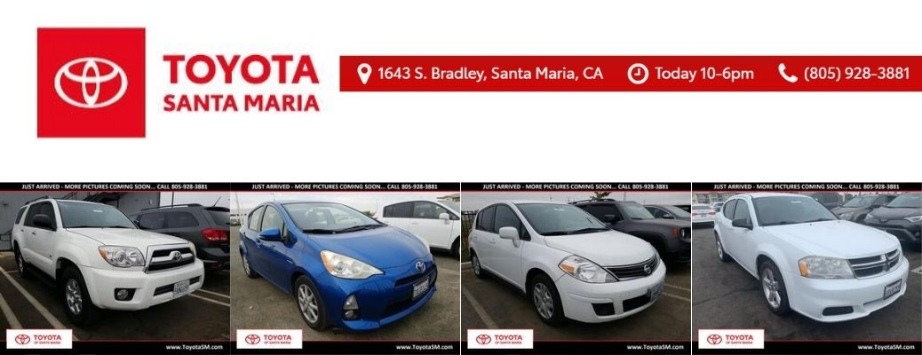 View of some of the vehicles available at Toyota of Santa Maria