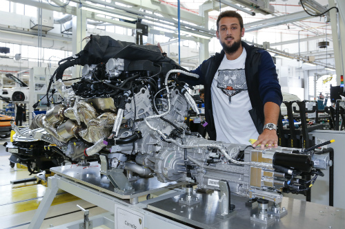 Lamborghini V12 engine at the factory