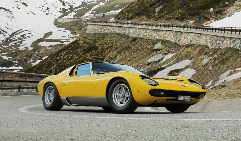 Lamborghini Miura yellow on the road