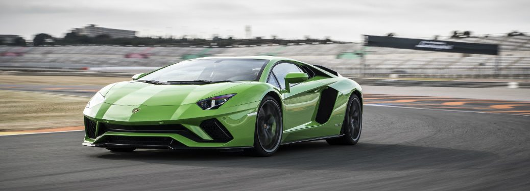 Lamborghini Aventador S Coupe Green on a track