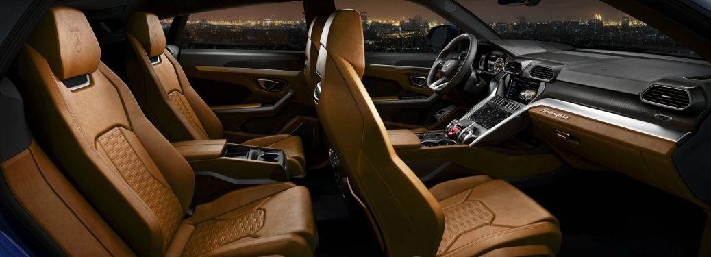 Lamborghini Urus brown leather interior front and back row 4-seat configuration