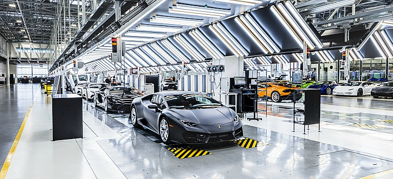 Assorted Lamborghini models rolling off the production line in Italy