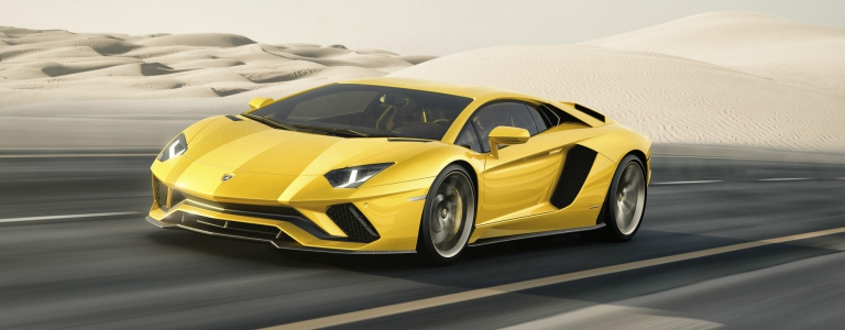 Lamborghini Aventador S yellow front side view in the desert