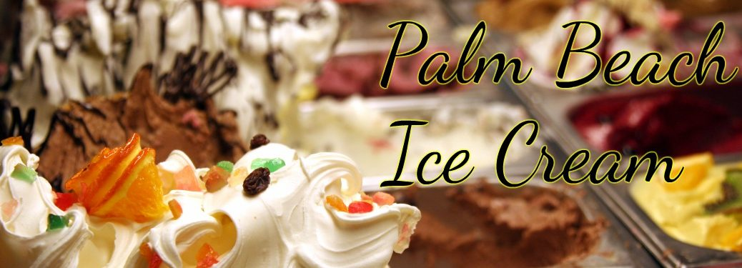 Palm Beach Ice Cream with ice cream flavor selection background