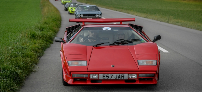 Lamborghini Countach red front view with optional wing