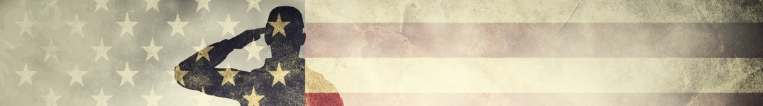 double exposure of a soldier and an American flag banner