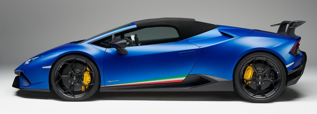 Lamborghini Huracan Performante Spyder blue side view top up