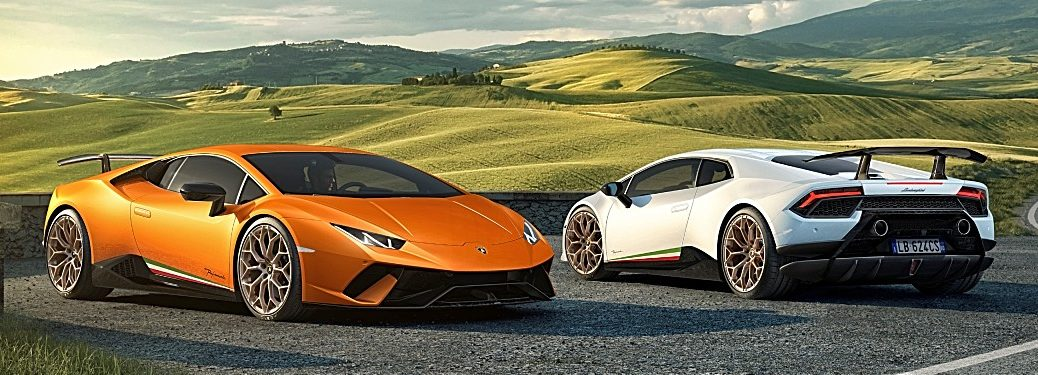 Lamborghini Huracan Performante orange and white side by side