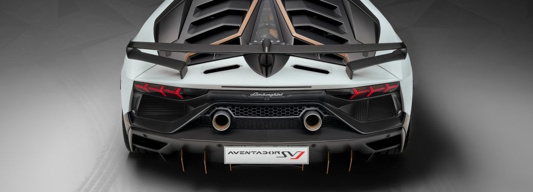 Lamborghini Aventador AVJ white rear wing back view