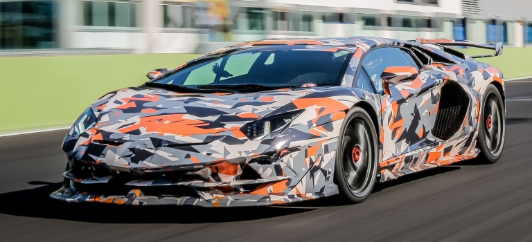 Lamborghini Aventador SVJ in press paint at the Nurburgring front view