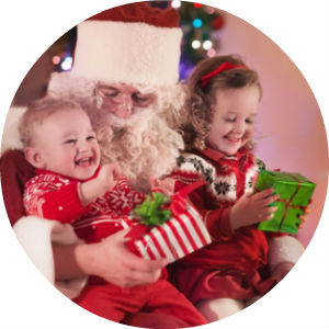 Santa with two kids on his lap