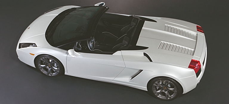 Lamborghini Gallardo Spyder white top view