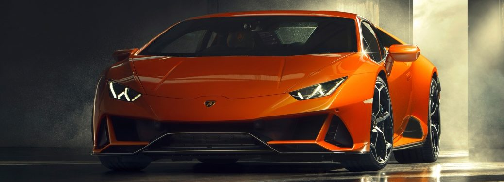 2019 Lamborghini Huracan EVO orange front view in a garage
