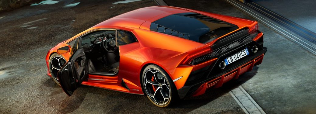 2019 Lamborghini Huracan EVO orange back view door open