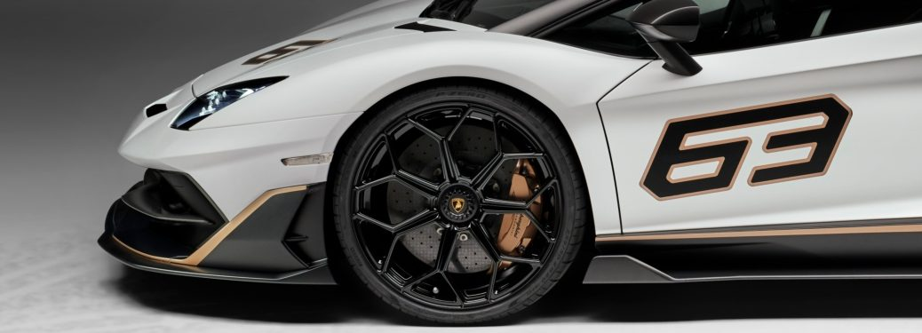Lamborghini Aventador SVJ 63 white and black front wheel closeup